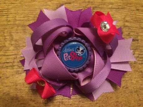 4.5 INCH LITTLEST PET SHOP RING HAIR BOW BOTTLE CAP CENTRE + ALIGATOR CLIP